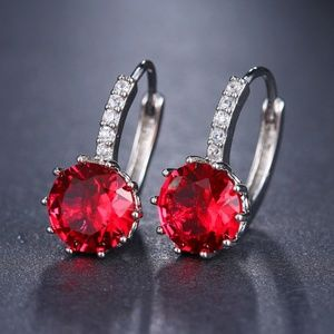 Ruby Red and Silver Round CZ earrings